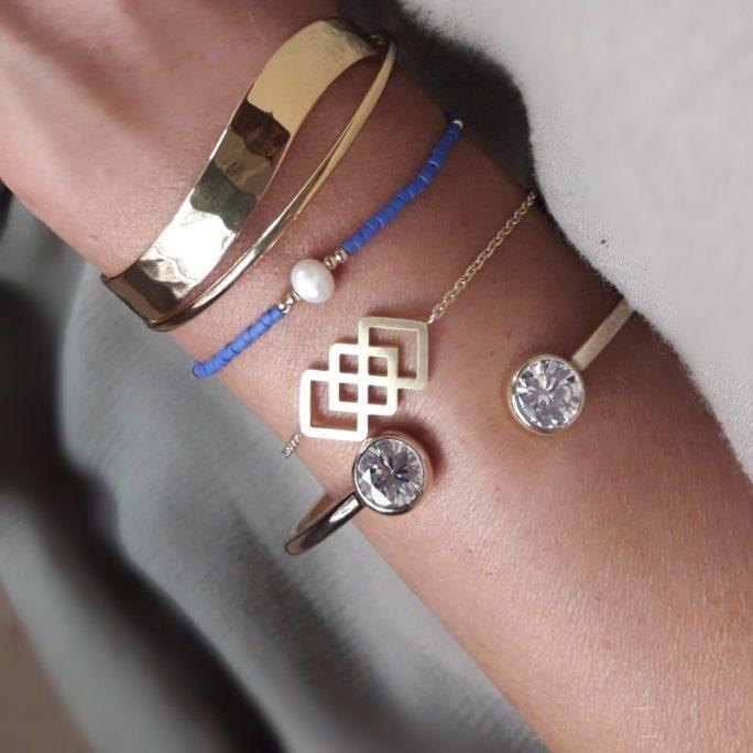 Bracelet plaque or pas cher