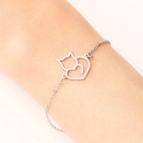bracelet chat argente