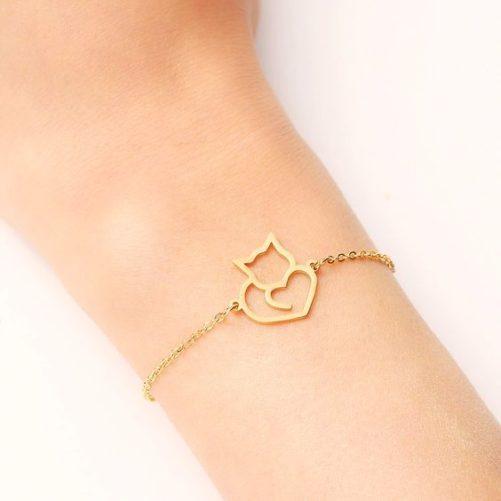 bracelet chat dore