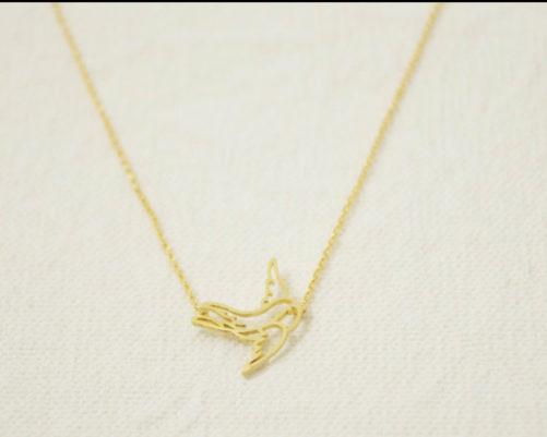 Collier origami oiseau