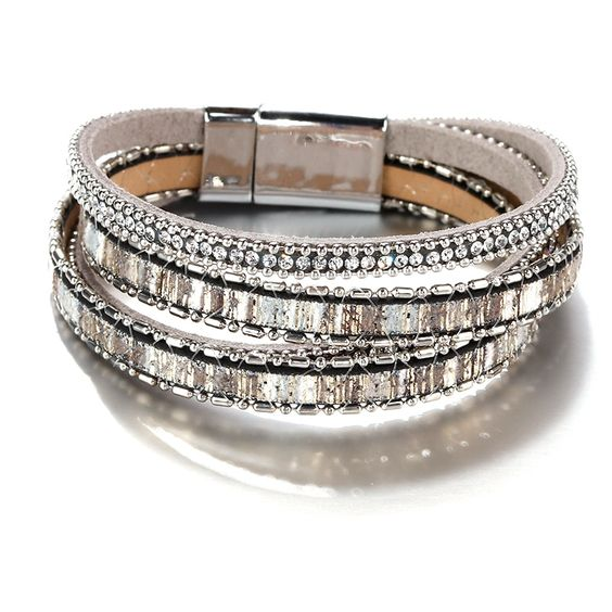 bracelet multitours cristaux strass