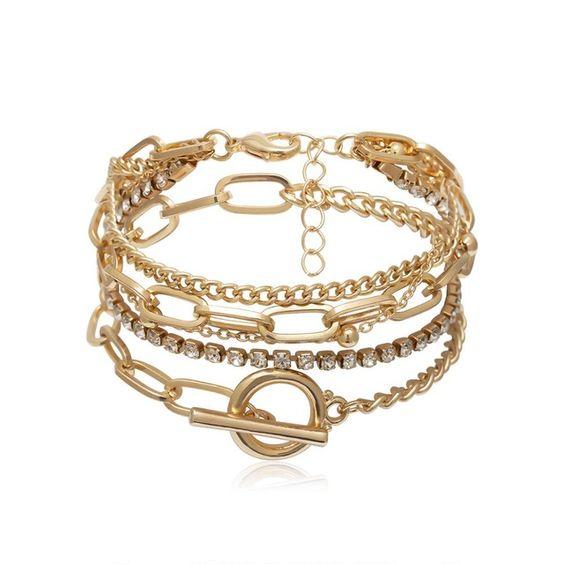 bracelet fantaisie tendance dore