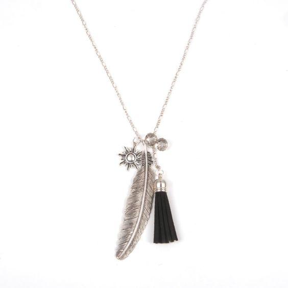 collier plume argente