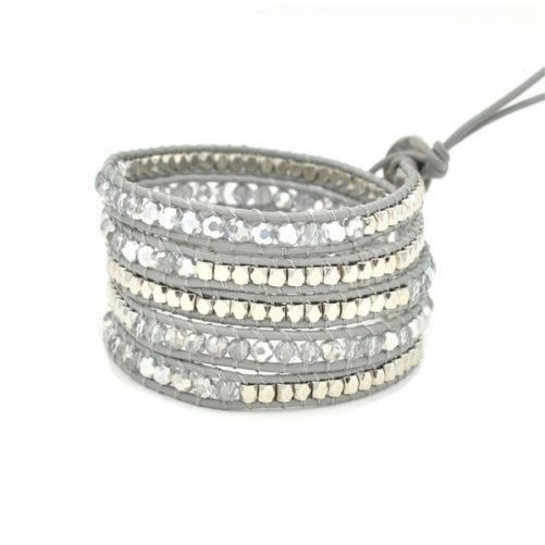 bracelet multitours gris argent