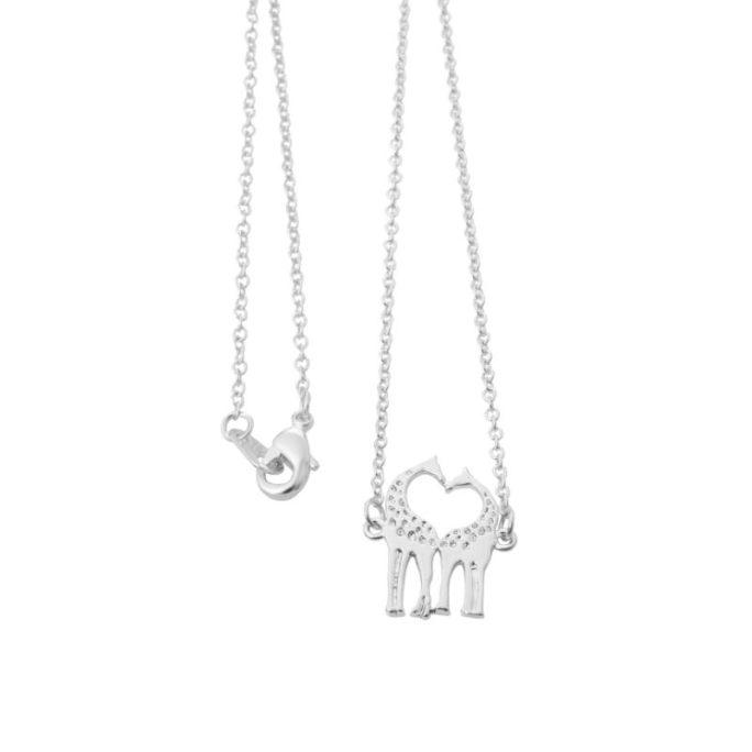 collier giraffe argente