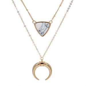 collier croissant de lune blanc