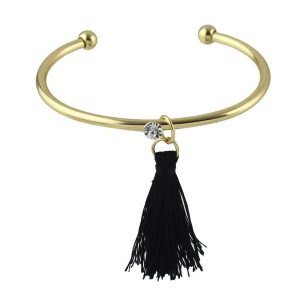 bracelet jonc pompon noir l 39 atelier trendy. Black Bedroom Furniture Sets. Home Design Ideas