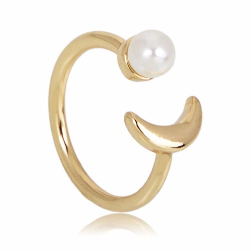 bague lune perle