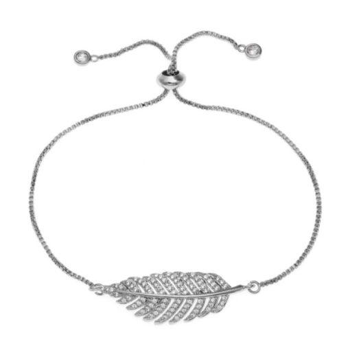 bracelet plume strass