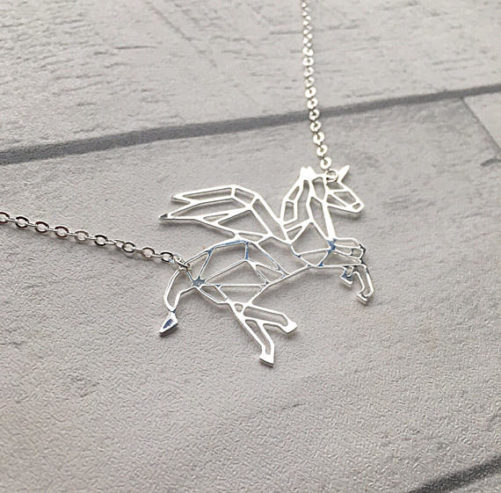 collier licorne argente