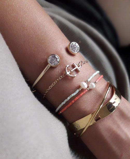 bracelet ancre dore