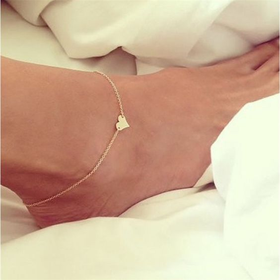 bracelet de cheville coeur