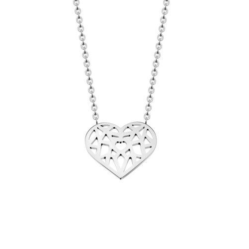 collier coeur argente femme