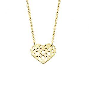 collier coeur plaque or