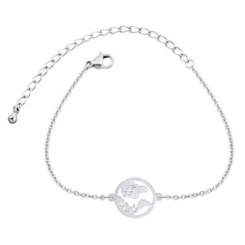 bracelet carte du monde argente