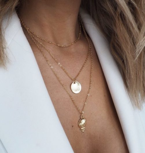 collier coquillage multirangs