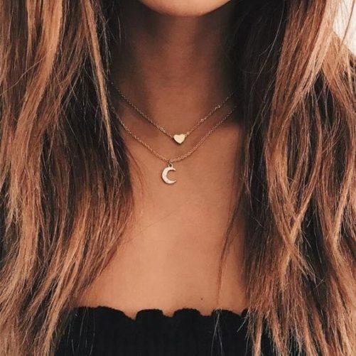 collier ras du cou lune