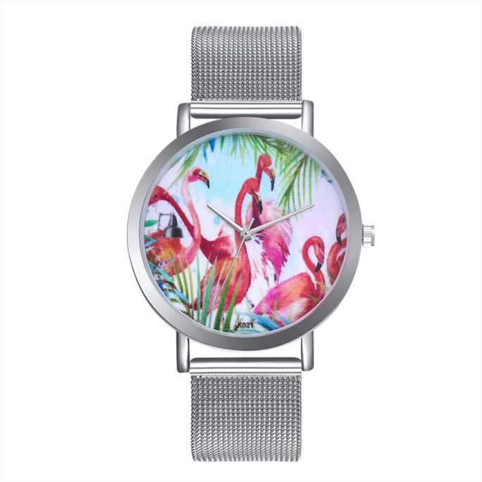 montre flamingo argente