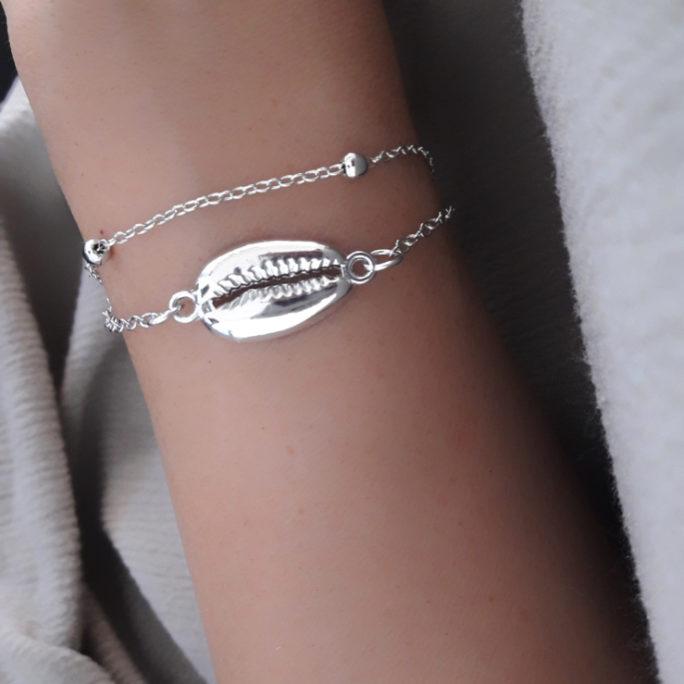 bracelet coquillage argente