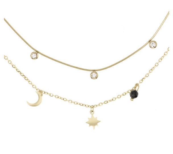 collier multirangs lune etoile plaque or