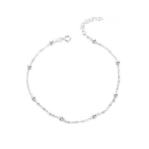 bracelet chaine perlee argente
