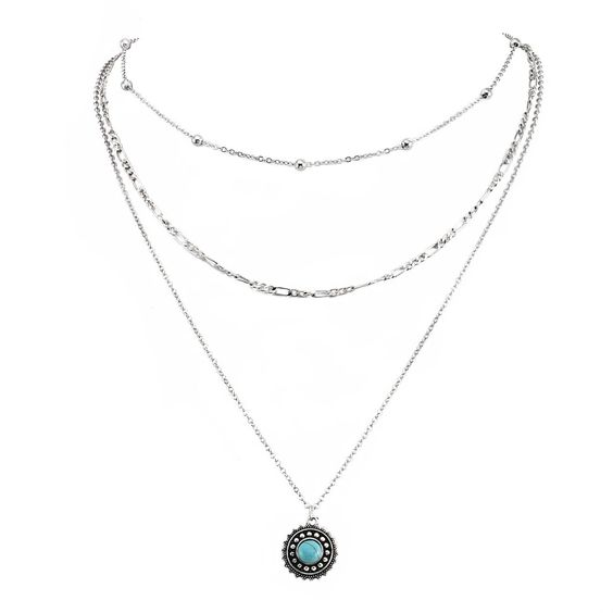 collier ras du cou turquoise f
