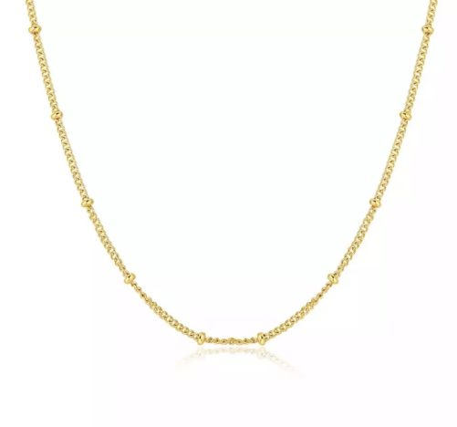 Collier chaine perlee or