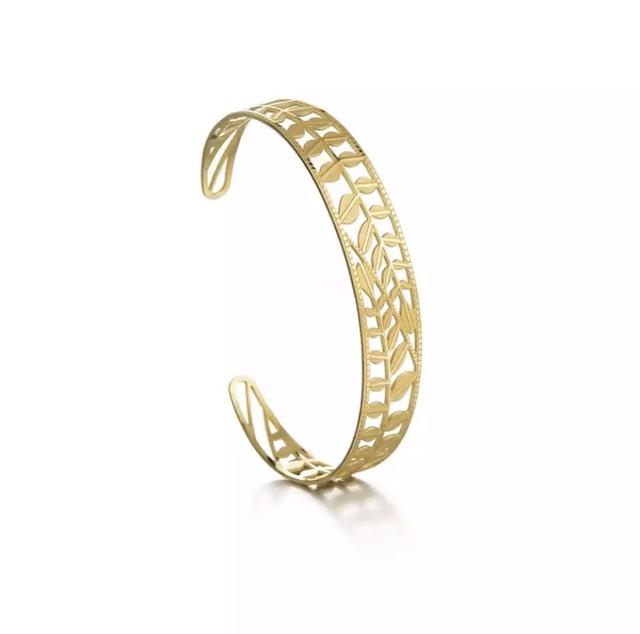 bracelet jonc laurier or