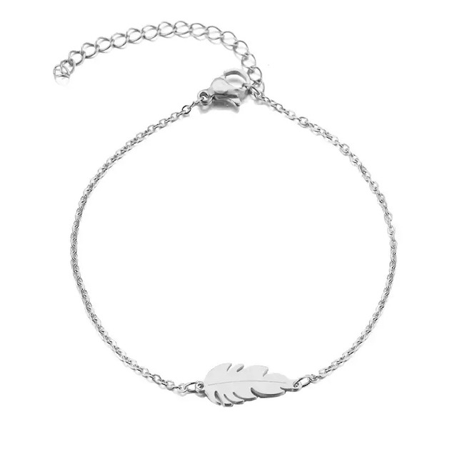 bracelet plume acier inoxydable