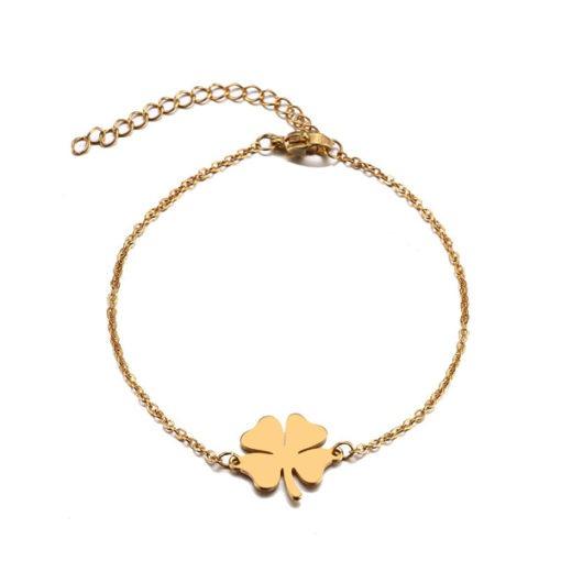 bracelet trefle plaque or